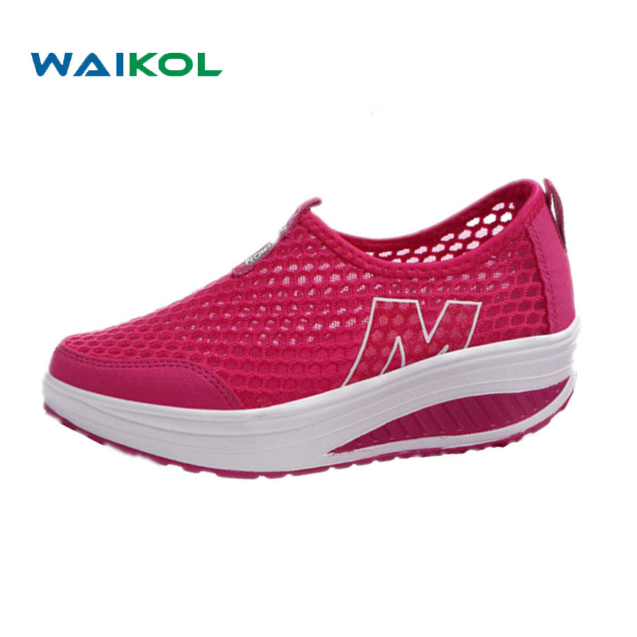Waikol Breathable Lady Zapato Casual Shoes Female Zapatillas Mujer Women's Casual Shoes Flat Footwear Hombre Trainers Shoes 2017 new summer zapato women breathable mesh zapatillas shoes for women network soft casual shoes wild flats casual shoes