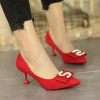 Autumn new red high heel women's fine with 5cm with pointed pointed shoes shallow mouth wild students low heel women's shoes