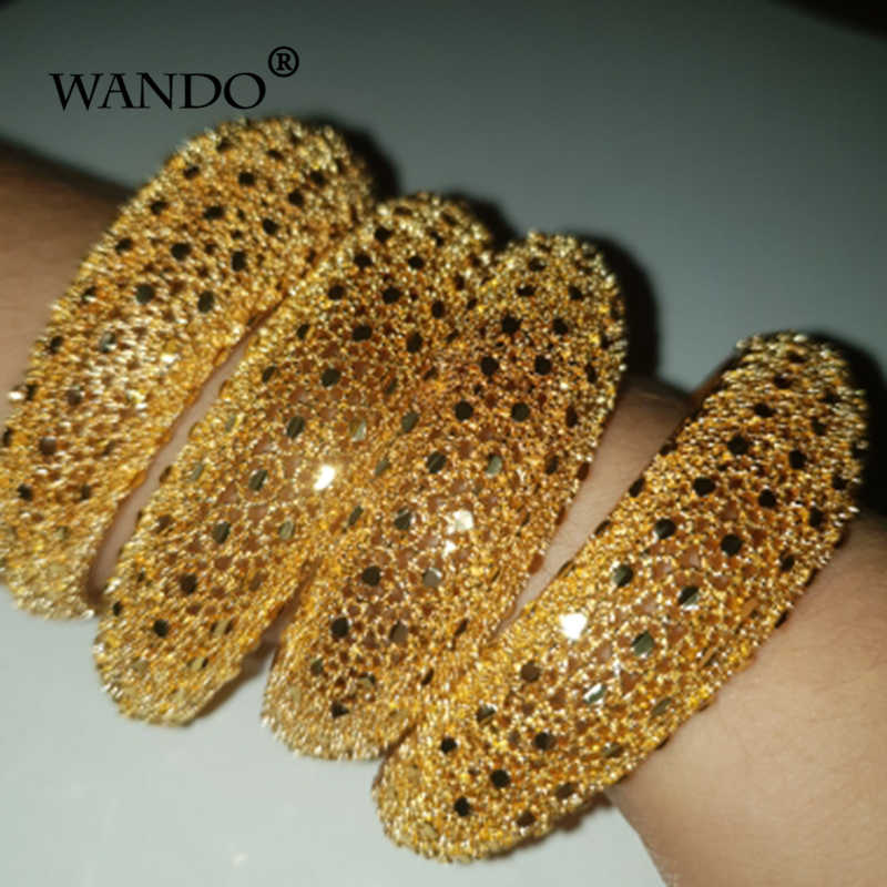 Wando 4pcs Ethiopian Jewelry Gold Color Bangles For Women Girl Dubai Gold Bangles For African  Bracelets For Women Gifts b141