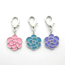 Pendant Paint Jewelry-Collar Puppy Rose-Flower Pet-Dog Cat 3-Colours Charm Double-Sided