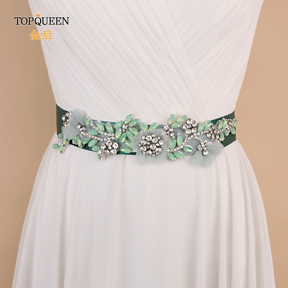 TOPQUEEN S419-G Wedding Accessories Belt For Wedding Dress Party Flower Belt Rhinestone Belt Diamond Belt For Evening Dress