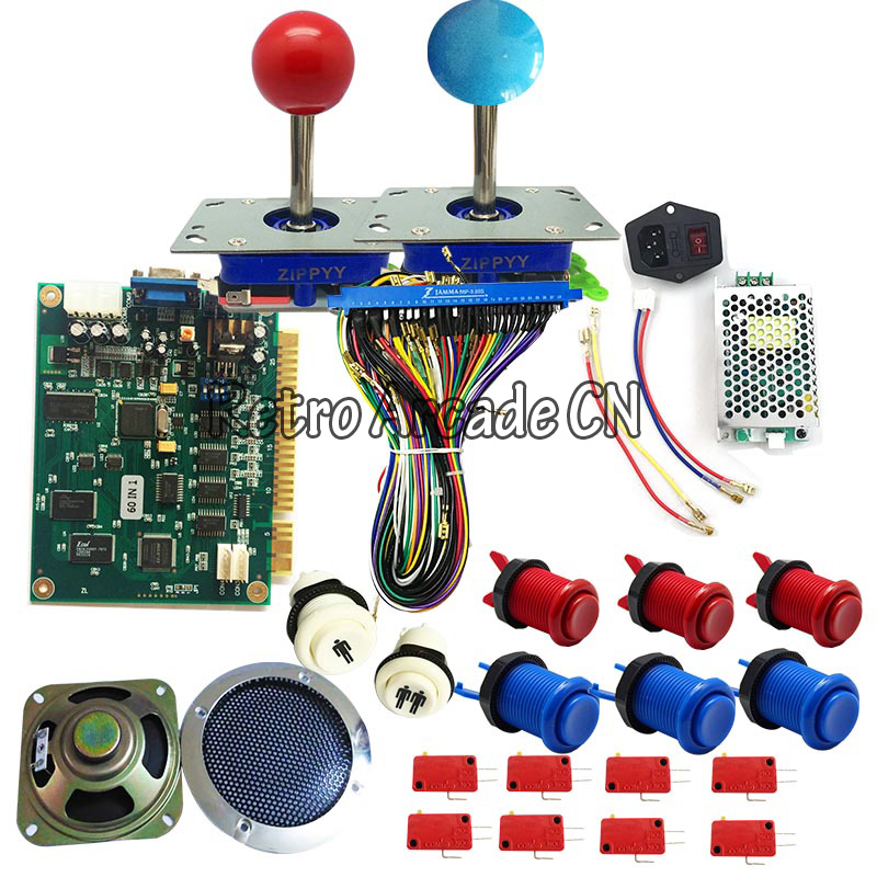 Classical JAMMA arcade game 60 in 1 kit with 24V power supply,speaker,zippy joystick,American push button,jamma wire,Classical JAMMA arcade game 60 in 1 kit with 24V power supply,speaker,zippy joystick,American push button,jamma wire,