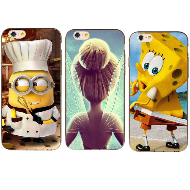 7bc31a3c4685 US $1.12 41% OFF Funny Spongebob Squarepants Minion Chef Tinkerbell Hard  Phone Cases For Apple iPhone 4 4S 5C 5 5S 6 6S Plus 7 7Plus 8 8Plus X 10-in  ...