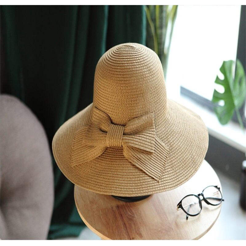 Gorra de sol de verano de gran tamaño para mujeres tejedora de paja sombrilla femenina 2018 novedad elegante rayado sombrero de sol YM