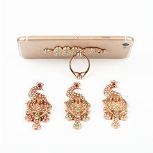 Universal Finger Ring Stand Bracket Buckle Rhinestone Peacock Mobile Phone Holder for iPhone 7 Samsung Galaxy S7 edge  Support