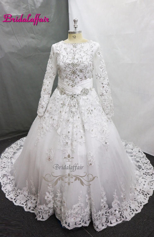 Luxury Lace Ball Gown Wedding Dress Off Shoulder Princess Arabic Muslim Arab Bride Bridal Dress Royal TrainGown Weddingdress in Wedding Dresses from Weddings Events