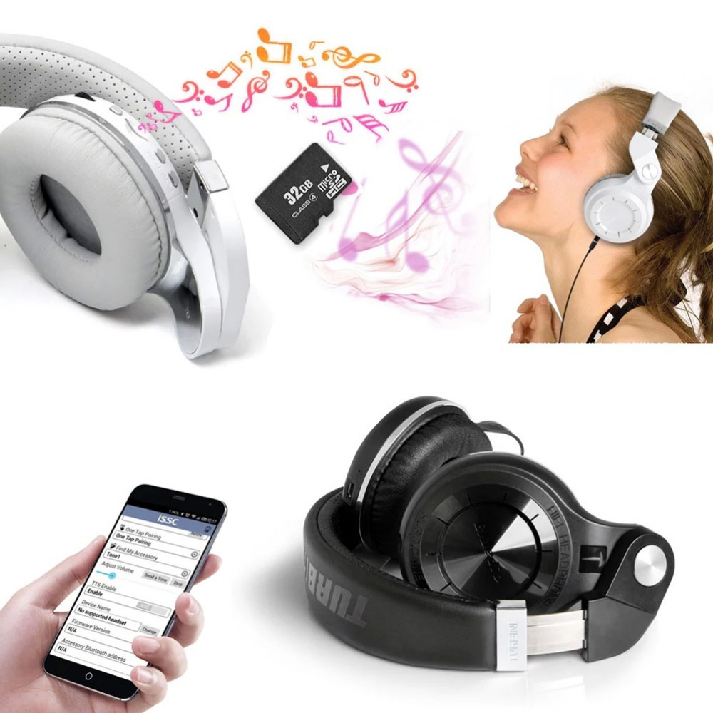 Bluedio T2+ Foldable Bluetooth Headphones 4.1 Headset Stereo support FM radio& Micro SD Card Functions Music&phone Calls