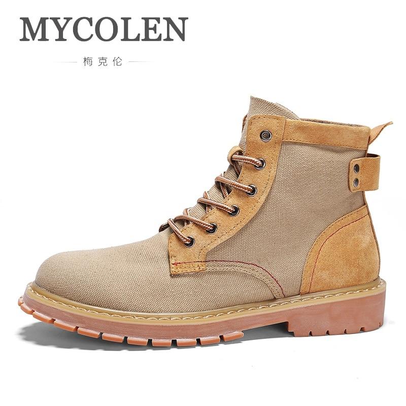 MYCOLEN New Men Boots Fashion Men Ankle Boots Winter Men Motorcycle Boots Male Shoes Leather Martin Boots Men'S Casual Shoes цена