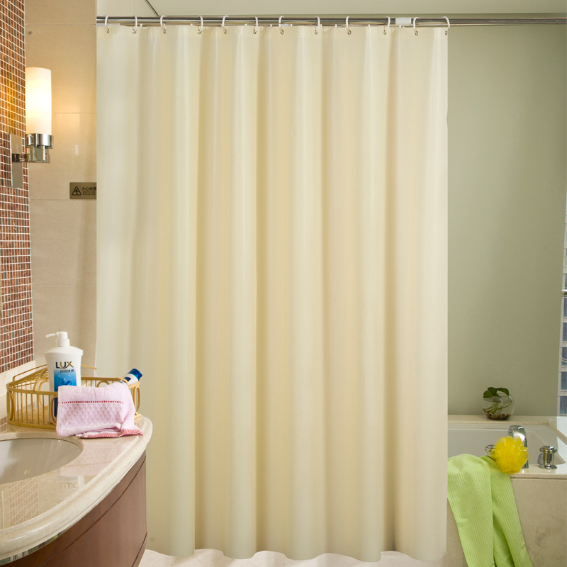 Waterproof Shower Curtains Translucence PEVA Solid Color Hotel Bathroom Bath Curtain With Hooks Thickened Plastic Shower Curtain