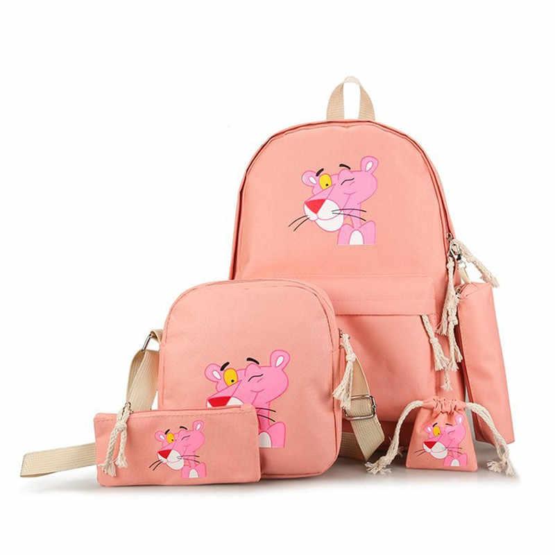 Милый розовый пантера мультфильм женский рюкзак холст школьный рюкзак для девочек Вышивка женский походный рюкзак школьные сумки Mochila