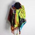 100% Satén De Seda Larga Bufanda De Terciopelo Puro Natural de Seda Impresa Patrón De Invierno Cálido Bufanda Mujer Bufandas de Seda/Chal W/broche