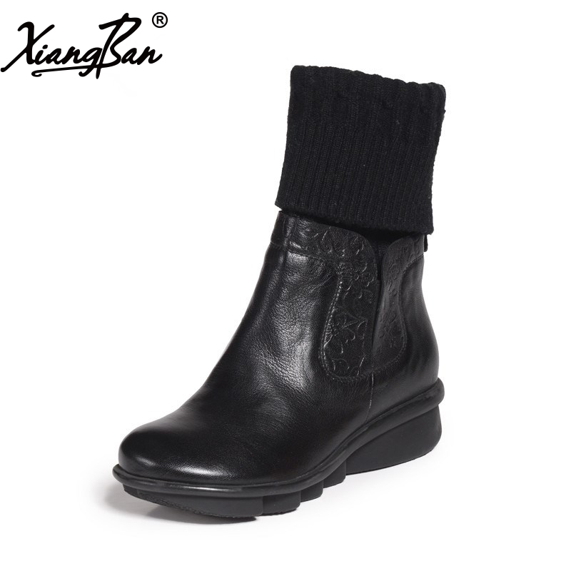 2017 black women boots sheepskin winter warm plush female boots mid-calf genuine leather women shoes double buckle cross straps mid calf boots