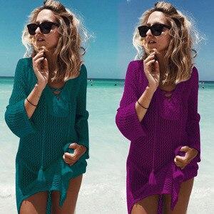 Image 5 - 2018 New Beach Cover Up Bikini Crochet Knitted Tassel Tie Beachwear Summer Swimsuit Cover Up Sexy See through Beach Dress