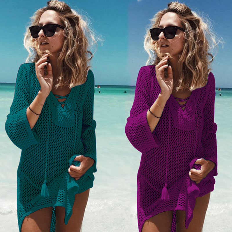 2018 New Beach Cover Up Bikini Del Crochet Lavorato A Maglia Nappa Tie Beachwear Estate Costume Da Bagno Cover Up Sexy See-through Beach vestito