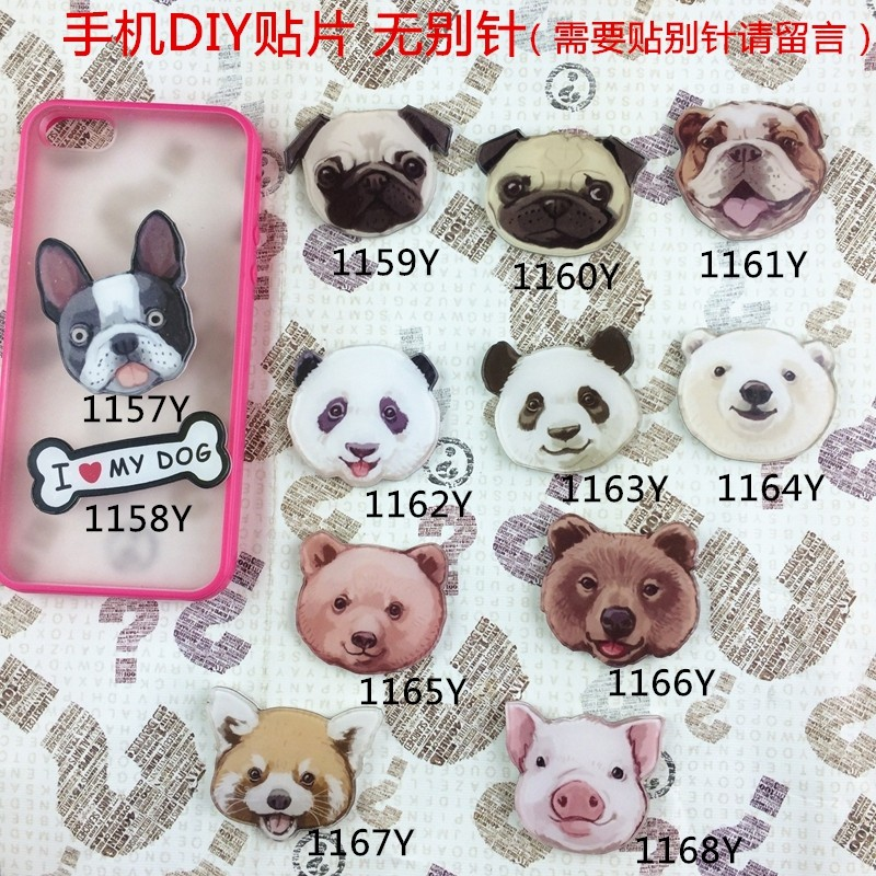 Acrylic Animal brooch Badge cartoon creative costumes Badge Cute pug panda Bear Broche XZ21