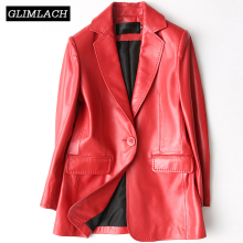 Latest Design Womens Leather Blazer Office Lady Red Black Slim Genuine Sheepskin Real Leather Suits Jacket Coats Autumn Clothes