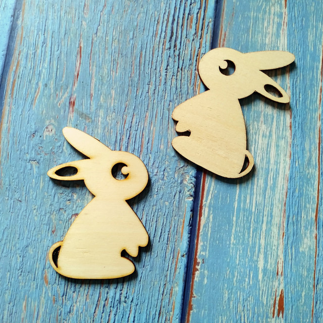 Us 399 10pcs Cute Rabbit Easter Bunny Wooden Diy Craft Tags Hanging Decorations Wood Natural Rustic Ornaments In Figurines Miniatures From Home