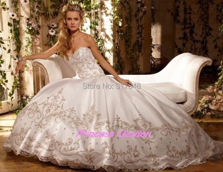 White and Gold Princess Wedding Dresses