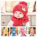 Детские Шлема Зимы Gorros Крышка для Малышей Детей Мальчики Девочки Дети Принцесса Корона Ребенка Шляпа Шарф, малышей вязаные шапки