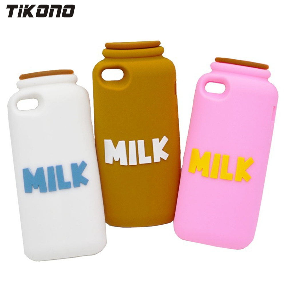 Tikono Cute Fun 3D Milk Bottle Case Shape Soft Silicone Phone Protective Back Cover Case for iPhone 5 5S Cell Phone Protection