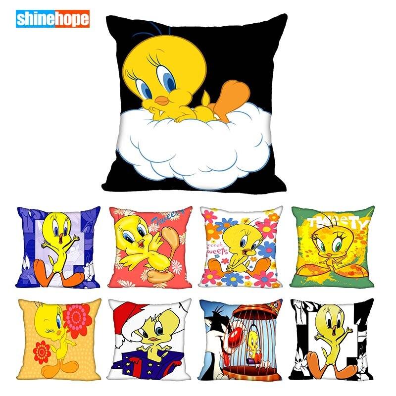 Custom Tweety Bird Square Pillowcase Custom Zippered Pillow Cover Case 40x40,45x45cm(One Side)