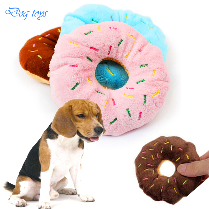 Lovely Sightly Pet Dog Puppy Cat Squeaker Quack Sound Toy Chew Donut Play Toys