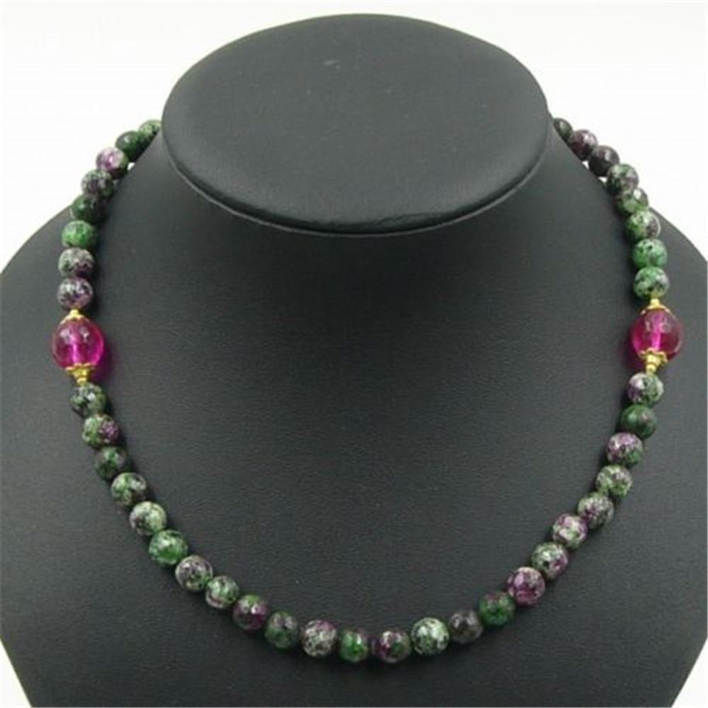 Vintage Classic Lab-created Natural Stone Jewelry Elegant Noble <font><b>Rubies</b></font> <font><b>Zoisite</b></font> Tourmaline Beaded Chain Choker Necklace 46 cm