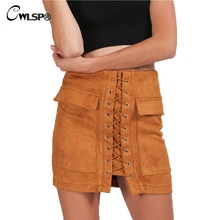 Women Autumn Winter Lace Up Skirts 90's Girl Vintage Suede Leather High Waist Pencil Skirts Ladies Preppy Short Skirts faldas grey lace up design high waisted skirts