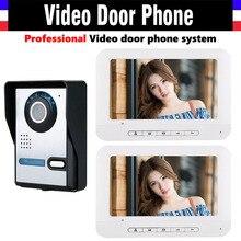 7 inch Video Door Phone Kit video doorbell Intercom System 1000TVL IR Night Vision Camera wired Home Video Intercom 2-Monitor
