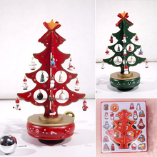 3D DIY Cartoon Wooden Christmas Tree Rotating Music Box Children Kid Gifts for Christmas Xmas Decoration