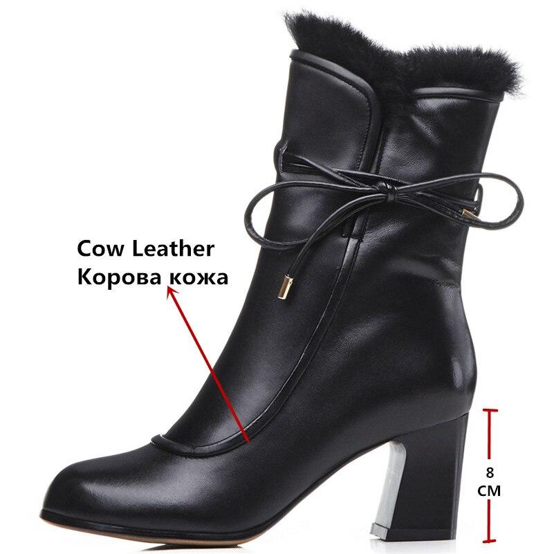 Mode Femmes mollet Hiver Femme Mi Corss liée Bout 1 Haute Noir Rond Automne Martin Chaud Chaussures Bottes Conasco Marque Talons QroeWCxBd