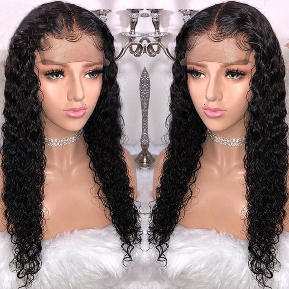 Aimu Lace Wigs Closure Virgin-Hair Wavy Curly Wet And 4x4 Wig-Preplucked