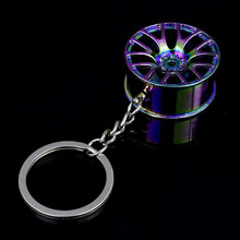 Auto Car Key Ring Wheel Hub Style Chain Holder Stainless Steel Colorful Jewelry Accessories Keychain