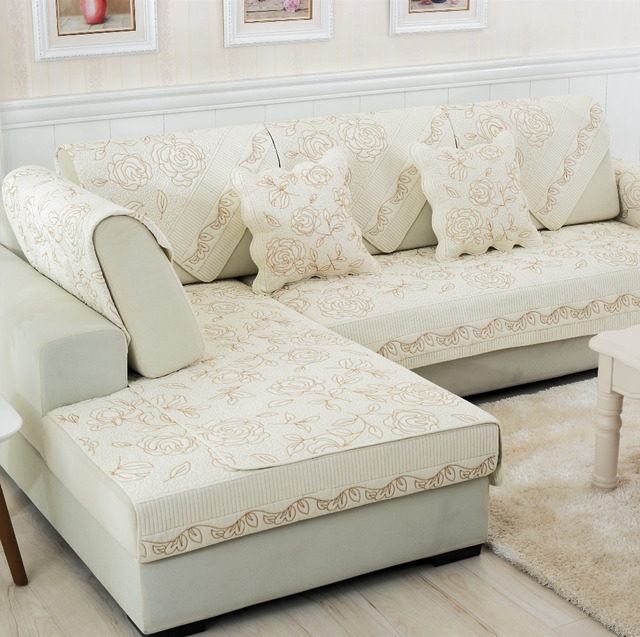 Modern Beige Rose Embroidery Cotton Combination Seat Sofa Covers Protector Eco Friendly Slipcover Couch