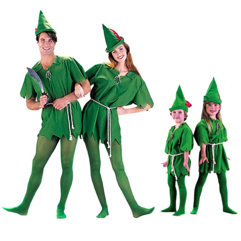 VASHEJIANG Kids Adult Peter Pan Costume Halloween Costume for Men Women Green Elf Parent-child Christmas Costumes with stocking