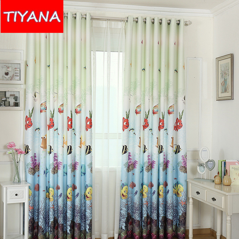 eco friendly custom made curtains cartoon fish curtains for kids room blinds curtains fabric for baby boys bedroom ag16830