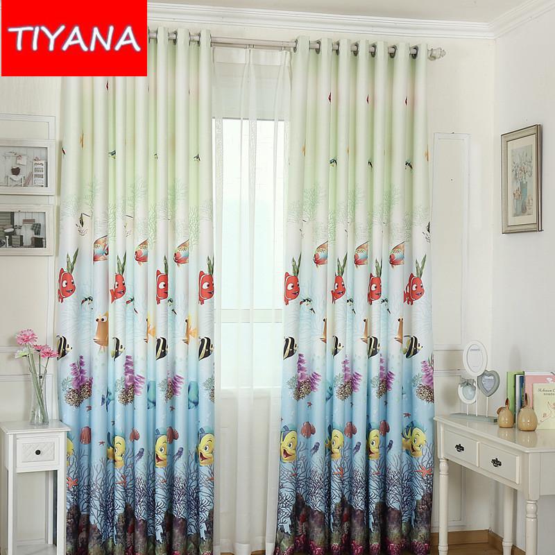 respetuoso del medio ambiente hecho a medida cortinas cortinas de peces de dibujos animados para nios