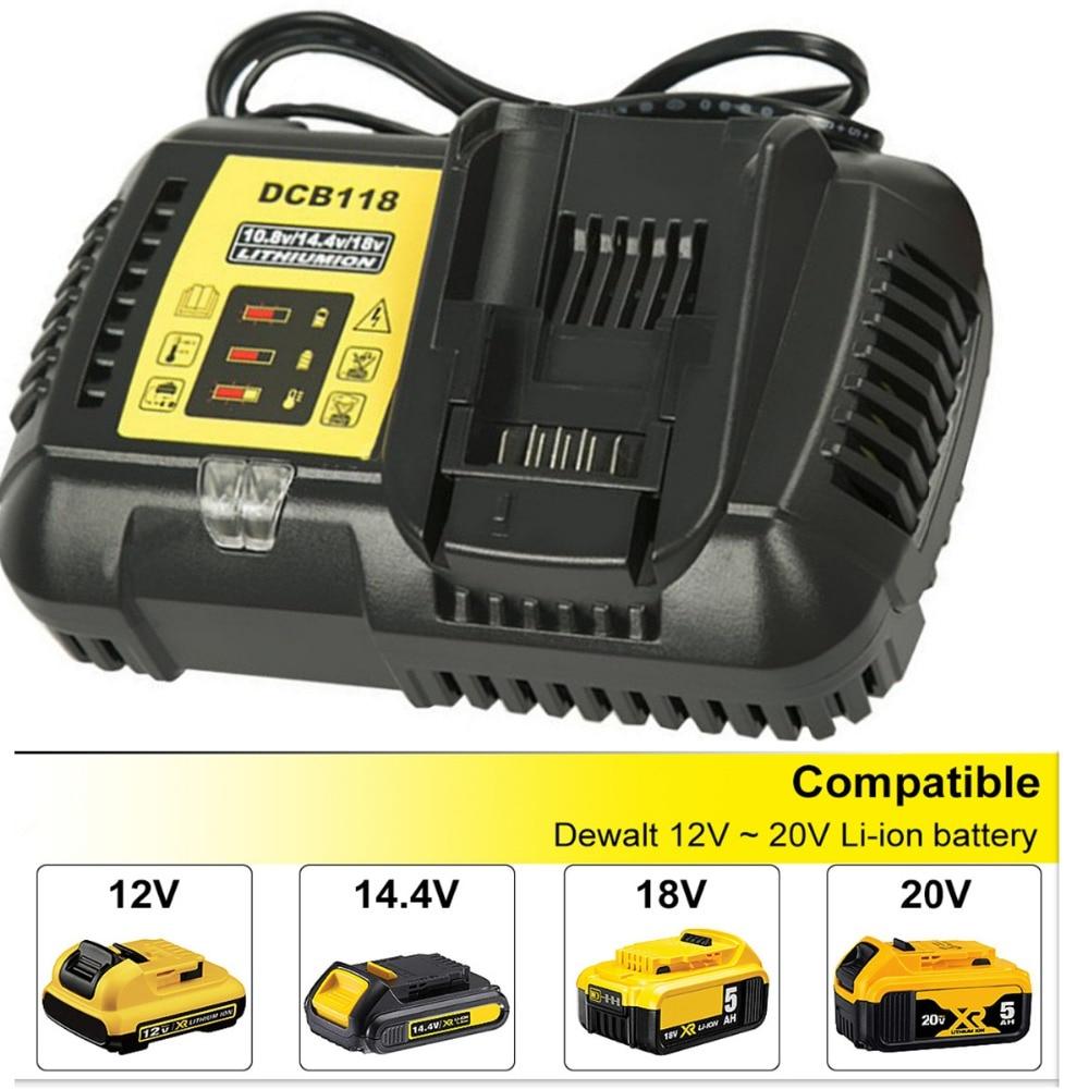 Новейшее быстрое зарядное устройство 4.5A DCB118 DCB101 для Dewalt 12 В 14,4 В 20 в литий-ионной батареи высокого качества