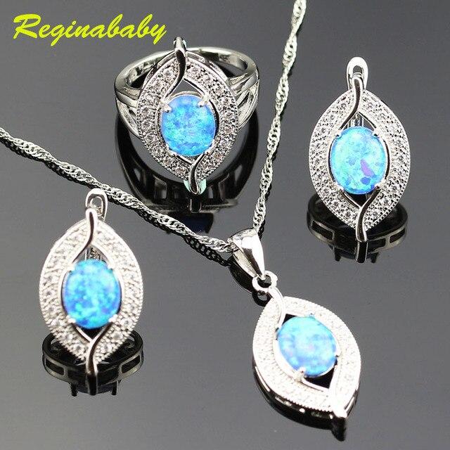 1286c2653 925 Logo Alluring Australia Blue Opal Jewelry Set For Women Silver White  Crystal Rings/Earrings/Necklace/Pendant