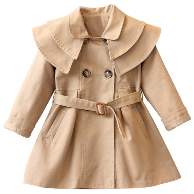 2019 New High quality cotton Girls coat long sleeve Solid double-breasted dust coat jacket outerwear autumn Spring wear 2-7yrs