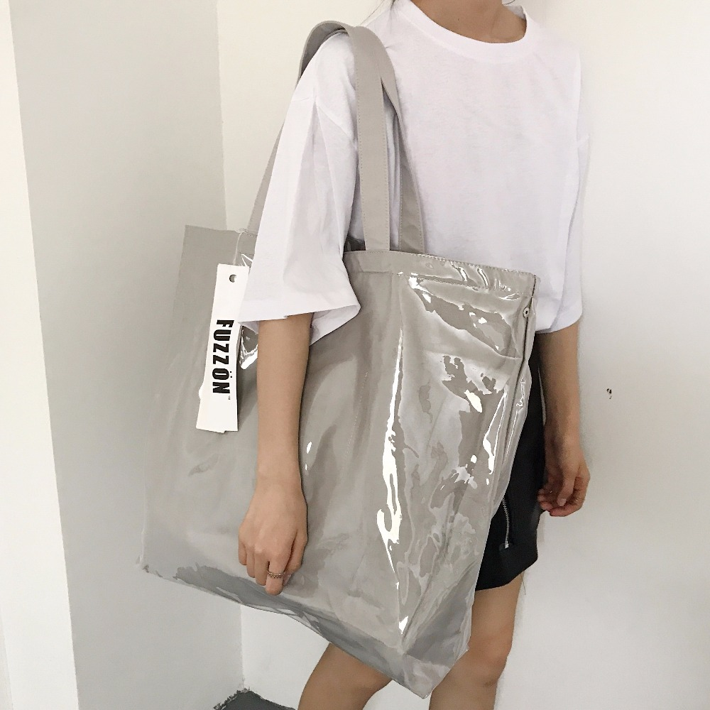 493009e4fcff Новая Винтажная крафт бумага сумка для покупок ПВХ прозрачная двойная  прозрачная сумка непромокаемая Повседневная сумка через плечо сумка  мессенджер купить ...