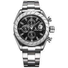 Для мужчин спортивные часы Роскошный Сапфир с украшением в виде кристаллов Самовзводные многофункциональный с циферблатом механический мужской часы с Нержавеющая сталь группа