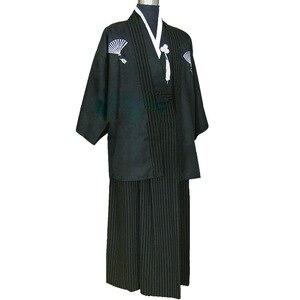 Image 4 - Кимоно мужское традиционное в японском стиле, винтажный юката, сценический танцевальный костюм, одежда самураев 89