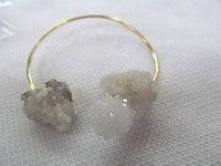 Free Ship 2pcs 60mm Double Druzy Gold Bangle Double Druzy Crystal Adjustable Gold Bangle Bangle Bracelet