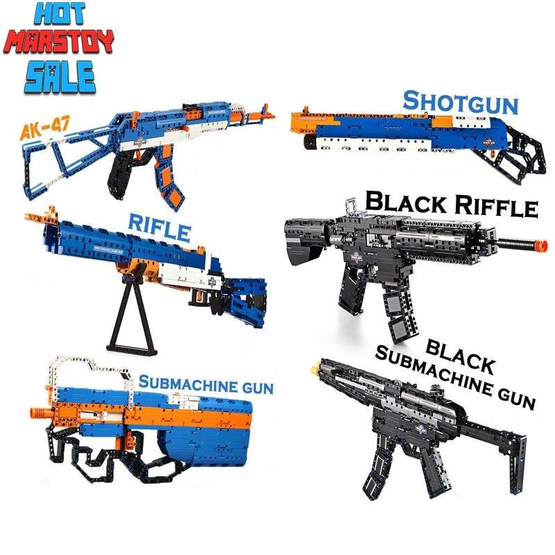 Fusil AK47 bloc pistolet série Swat arme militaire modèle blocs de construction pistolet de puissance avec des balles EVA sûres avec des briques de plomb jouet pistolet