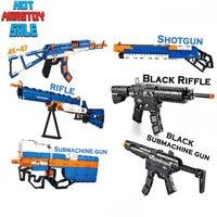 Rifle AK47 Block Gun Series Swat Weapon Military Model Building Blocks Power Gun With Safe EVA Bullets LegoINGly Bricks Toy Gun