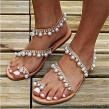 Women pearl sandals handmade beaded flat sandals women summer shoes slipper comfortable sandales femme 2019 big size 35- 43(China)