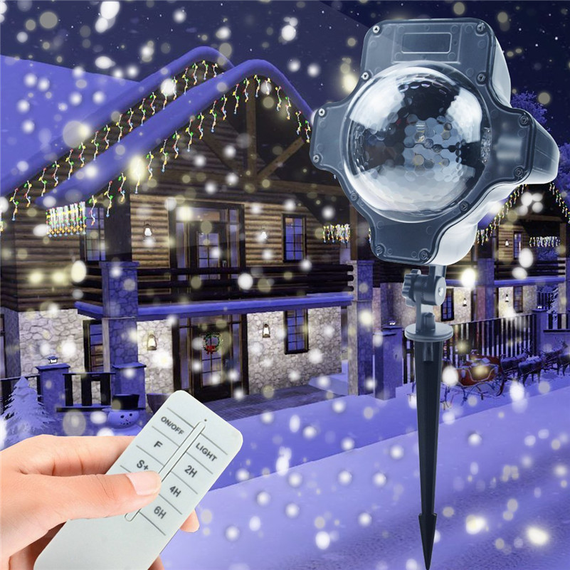 Tanbaby Christmas Holiday Snowflake Projector Outdoor LED Lamp Waterproof Lights Home Garden Snowfall Indoor Decoration white snowflake led stage lights waterproof projector lamps outdoor indoor decor spotlights for christmas party holiday lights
