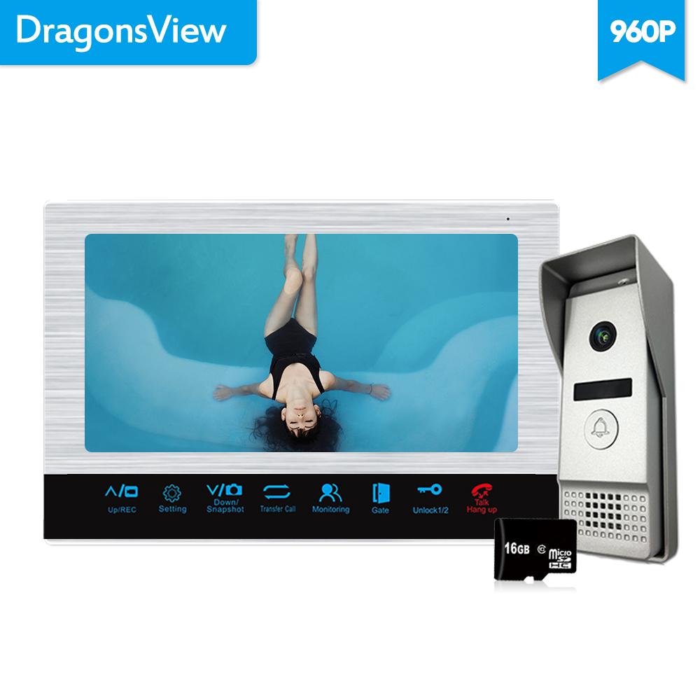 Dragonsview  960P 10 Inch Video Door Phone Doorbell Intercom System Wide Angle 2.3mm Lens Video Recording 16GB SD Card AHD
