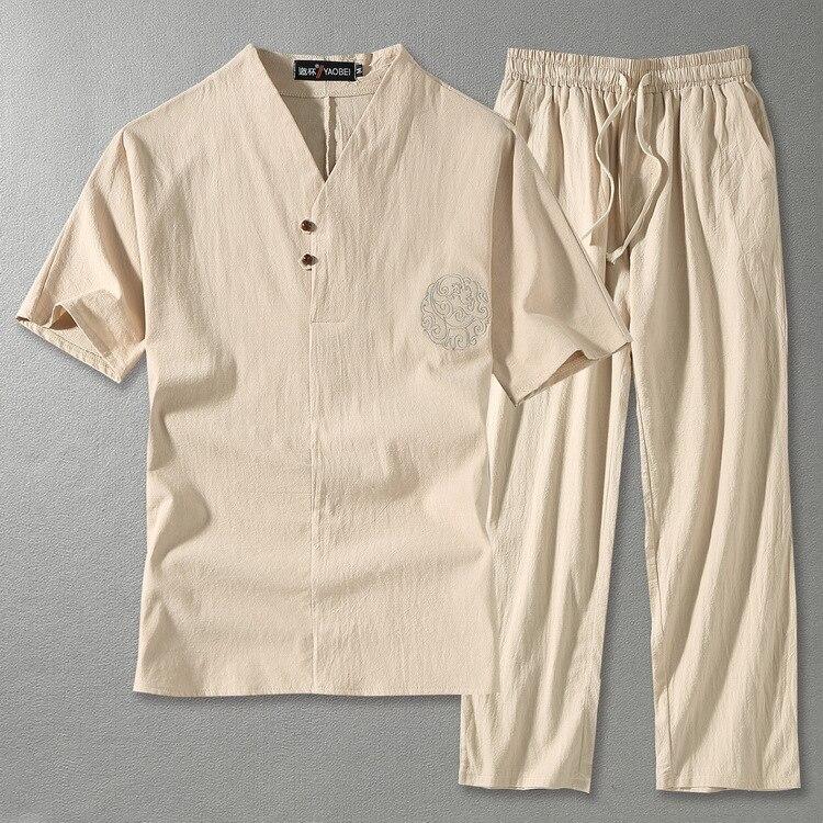 Grands hommes linge hauts & t-shirts ensembles grande taille M-9XL col en V hommes T-shirt hommes t-shirts T-shirt style chinois deux pièces costumes 5 couleurs